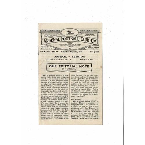 1946/47 Arsenal v Everton Football Programme
