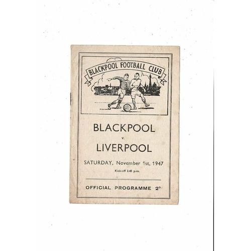 1947/48 Blackpool v Liverpool Football Programme