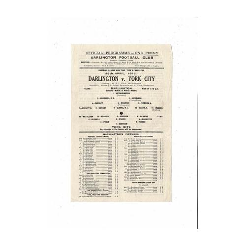 1944/45 Darlington v York City Tyne Tees & Wear Cup Football Programme