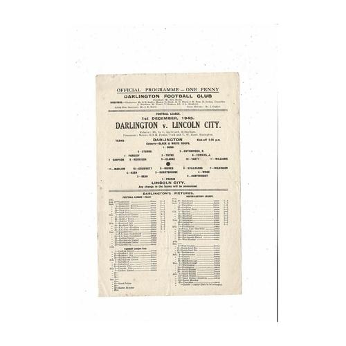 1945/46 Darlington v Lincoln City Football Programme