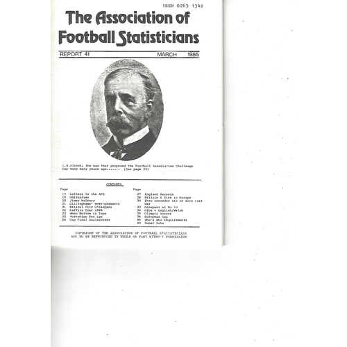 The Association of Football Statisticians Report No. 41