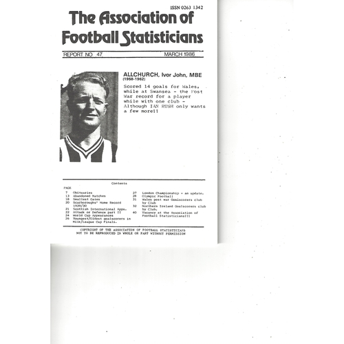 The Association of Football Statisticians Report No. 47