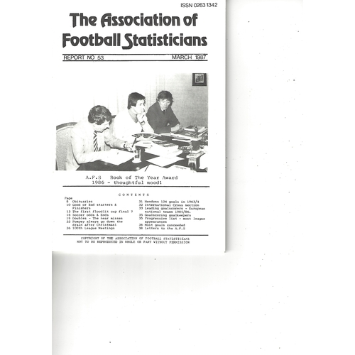 The Association of Football Statisticians Report No. 53