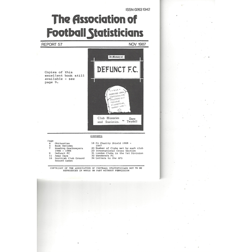 The Association of Football Statisticians Report No. 57
