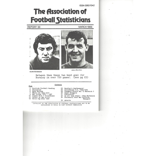 The Association of Football Statisticians Report No. 59