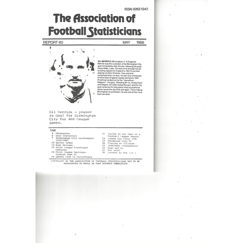 The Association of Football Statisticians Report No. 60