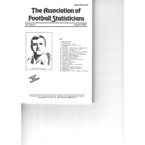 The Association of Football Statisticians Report No. 61