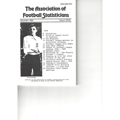 The Association of Football Statisticians Report No. 62