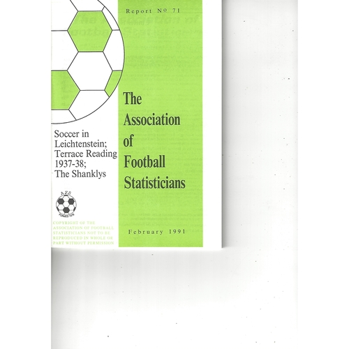 The Association of Football Statisticians Report No. 71