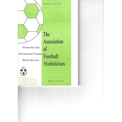 The Association of Football Statisticians Report No. 73