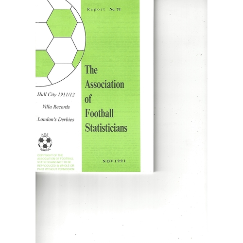 The Association of Football Statisticians Report No. 74