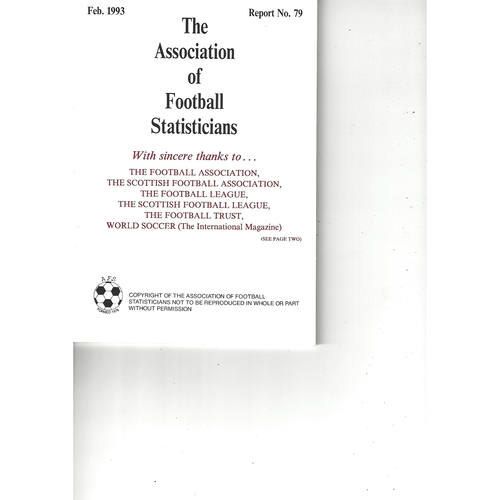 The Association of Football Statisticians Report No. 79