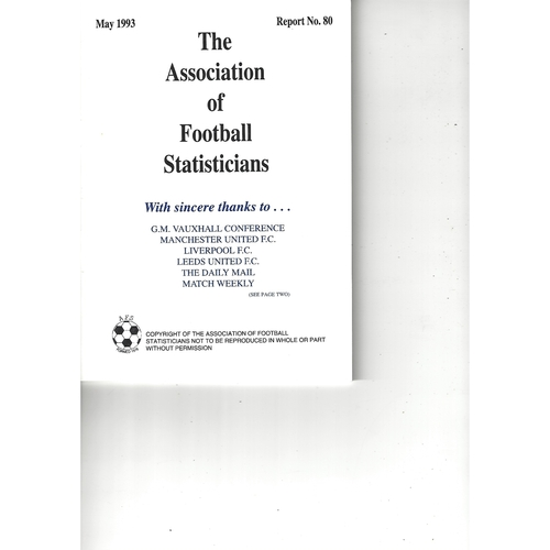 The Association of Football Statisticians Report No. 80