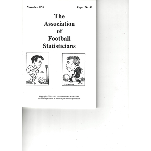 The Association of Football Statisticians Report No. 86