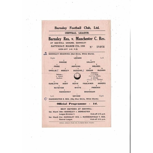 Barnsley v Manchester City Central League Reserves Football Programme 1955/56