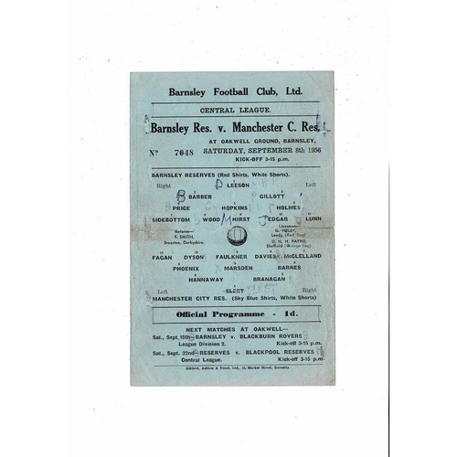 Barnsley v Manchester City Central League Reserves Football Programme 1956/57