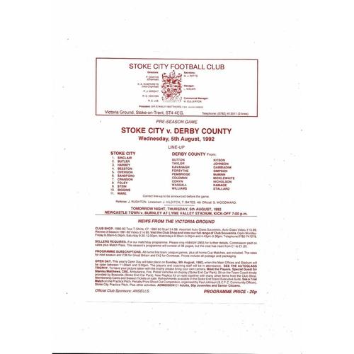 Stoke City v Derby County Friendly Football Programme 1992/93