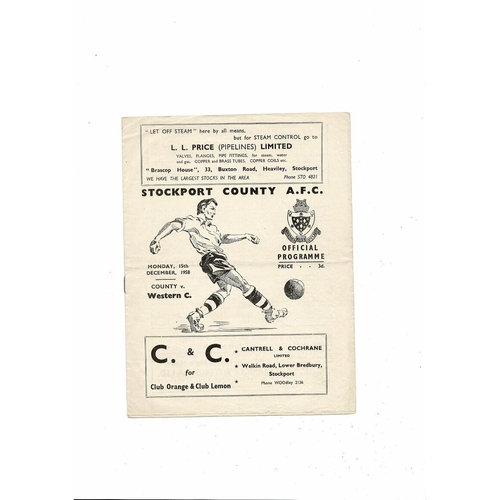 Stockport County v Western Command Friendly Football Programme 1958