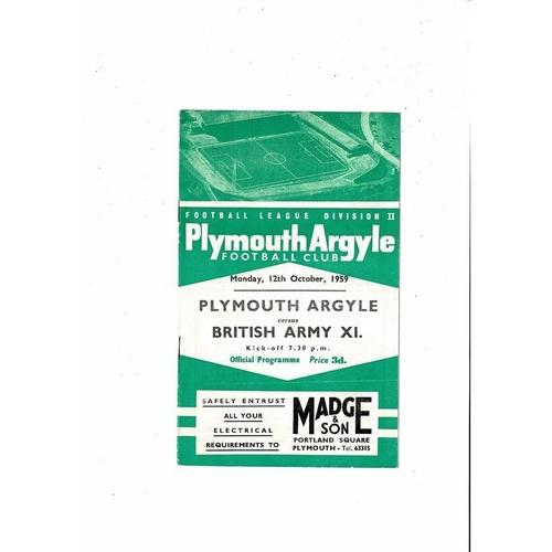 Plymouth Argyle v British Army X1 Friendly Football Programme 1959