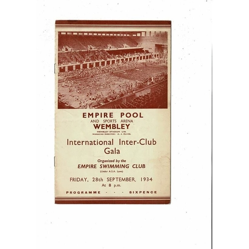 1934 International Inter Club Swimming, Diving & Water Polo Gala Programme