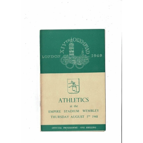1948 London Olympic Athletics Programme August 5th @ Wembley