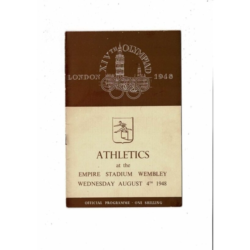 1948 London Olympic Athletics Programme August 4th @ Wembley