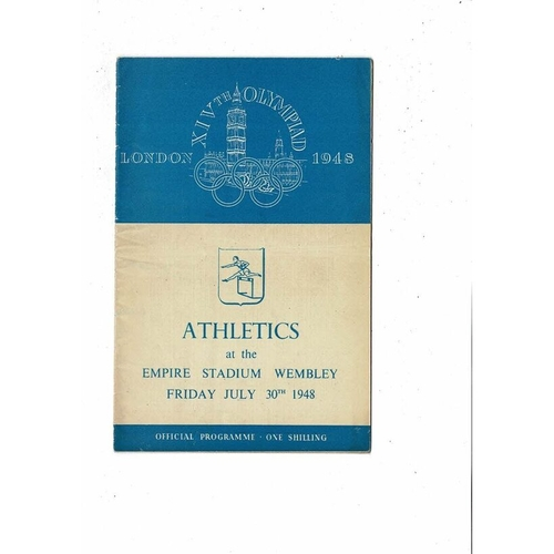 1948 London Olympic Athletics Programme July 30th @ Wembley