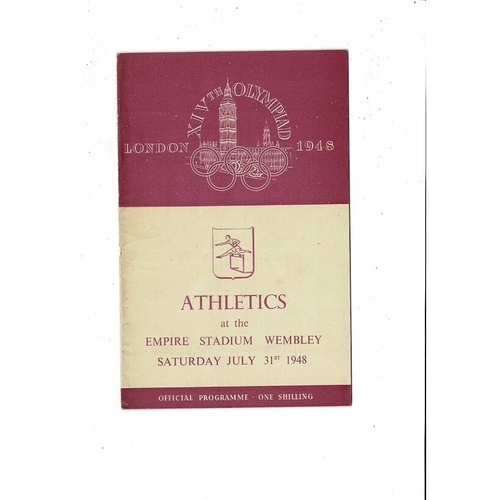 1948 London Olympic Athletics Programme July 31st @ Wembley