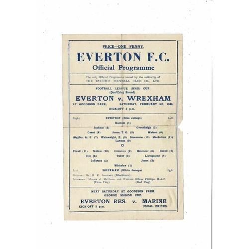 1943/44 Everton v Wrexham War Cup Football Programme