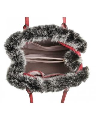 """""""Medium"""" Faux Fur Trim Tote Bag"""