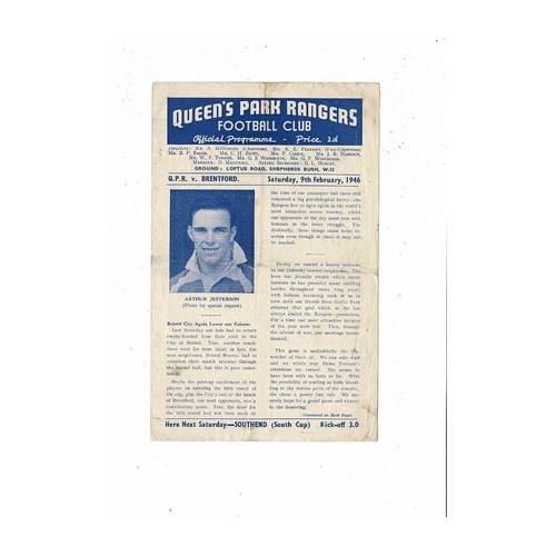1945/46 Queens Park Rangers v Brentford Football Programme