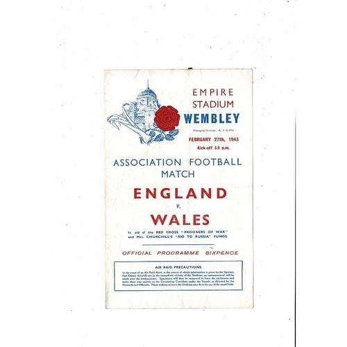 1943 England v Wales Football Programme