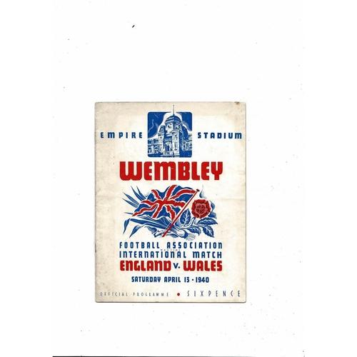 1940 England v Wales Football Programme