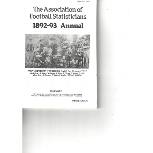 The Association of Football Statisticians 1892-93 Annual