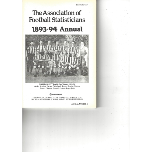 The Association of Football Statisticians 1893-94 Annual