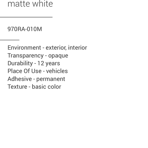 ORACAL® 970RA-010M - Matte White