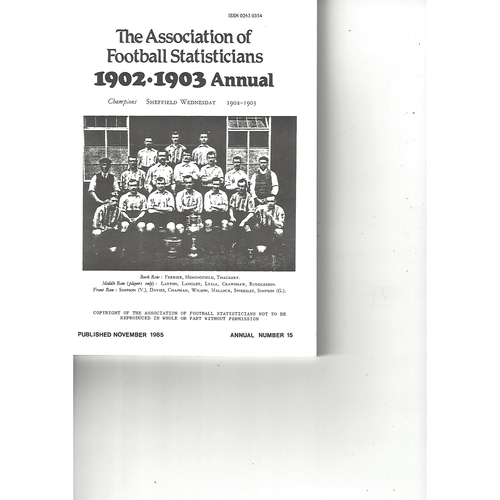 The Association of Football Statisticians 1902-1903 Annual