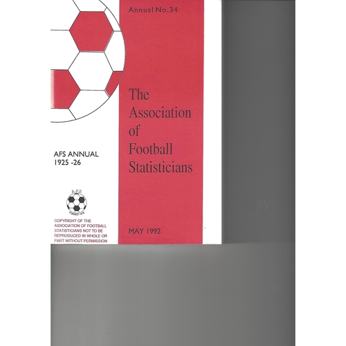 The Association of Football Statisticians 1925-1926 Annual No 34