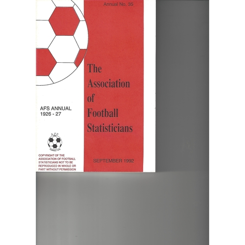 The Association of Football Statisticians 1926-1927 Annual No 35
