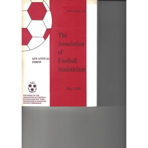 The Association of Football Statisticians 1928-1929 Annual No 37