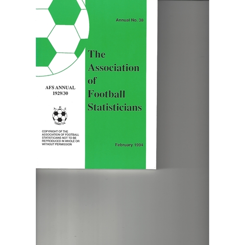 The Association of Football Statisticians 1929-1930 Annual No 38