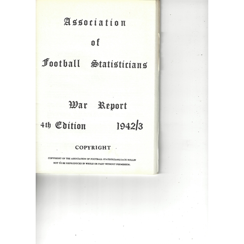 The Association of Football Statisticians War Report 4th Edition 1942-1943