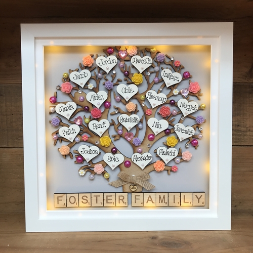 "LED Extra large "" Floral family tree frame """