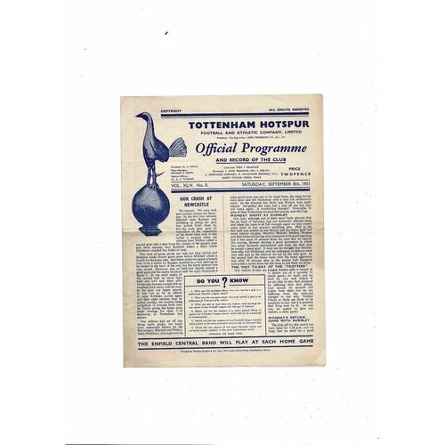 1951/52 Tottenham Hotspur v Bolton Wanderers Football Programme