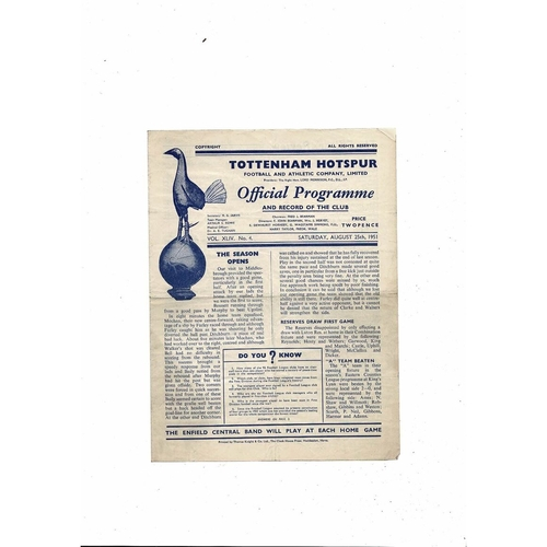 1951/52 Tottenham Hotspur v West Bromwich Albion Football Programme
