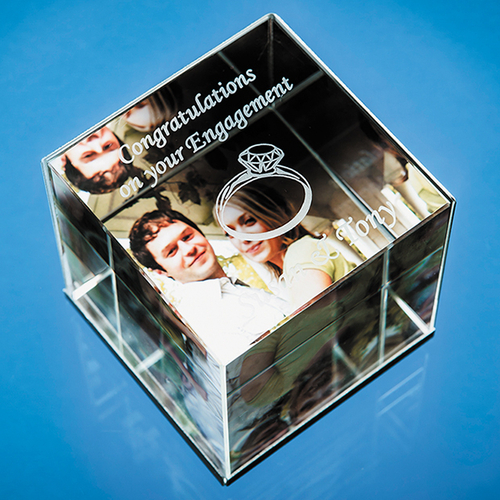 6cm Optical Crystal Cube Photo Frame - holds 3 Photos