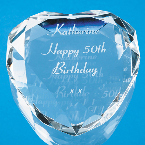 Optical Crystal Clear Flat Facet Heart Paperweight 8cm