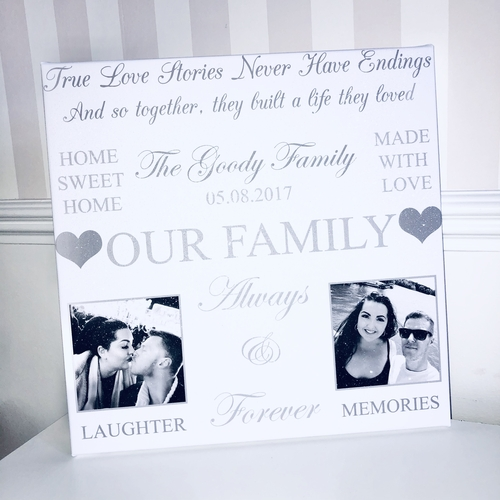 Personalised 2 Picture Word Art Glitter Canvas (design 2)