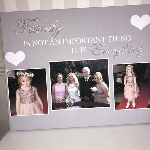 Glitter 3 Photo Personalised Canvas