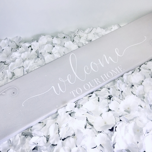 Glitter panoramic / plaque Welcome Personalised Canvas